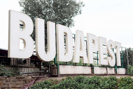 The word BUDAPEST on Margaret Island in capital of Hungary