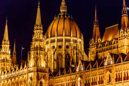 Budapest Parliament at night lights, Hungary. Close up