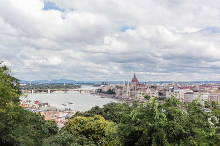 Panorama of Budapest with Hungarian Parliament and Danube River