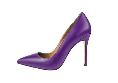 Purple high heel leather women shoe isolated on white Stock Photo