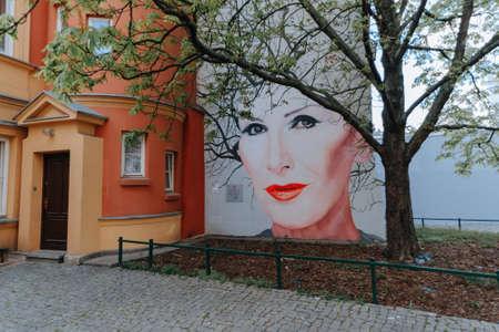 WARSAW, POLAND - APRIL 21, 2020: The mural in memory polish rock vocalist and songwriter Kora Jackowska (1951-2018)