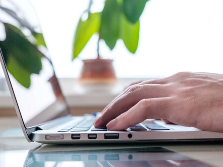 pipal: Businessmens hands typing on laptop keyboard for business or education tasks Stock Photo