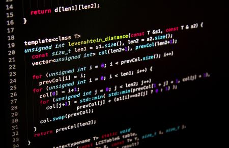 Software developer programming code. Abstract computer script code