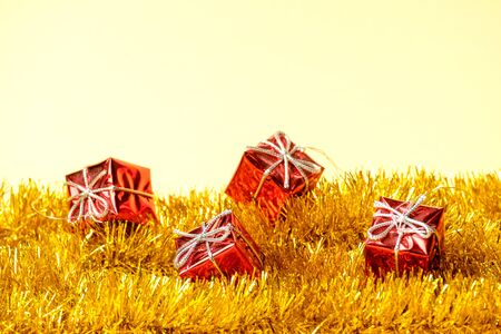 Christmas decoration red gifts and yellow garland