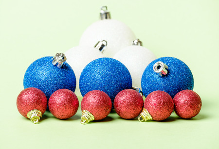 serbia xmas: Set of Christmas decoration red, blue and white balls