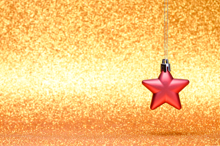 Christmas and New Year toys decorations on vibrant glitter background