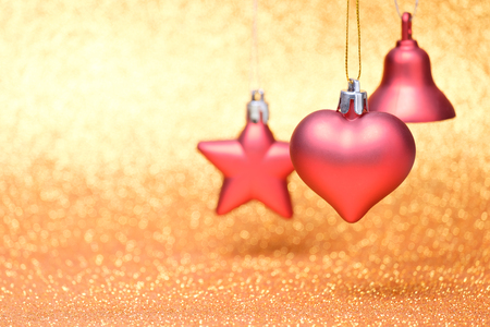Christmas composition on bright colorful and vibrant background