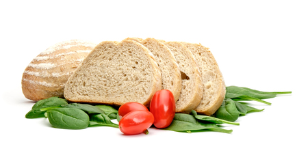 Bread tomatos and spinach isolated on white background