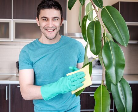 pipal: Adult man cleaning pipal in kitchen by yellow cloth