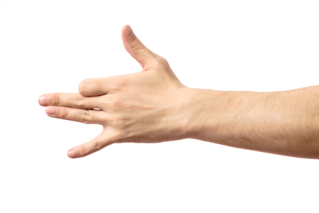Gesture male hand indicating dog face isolated on white background
