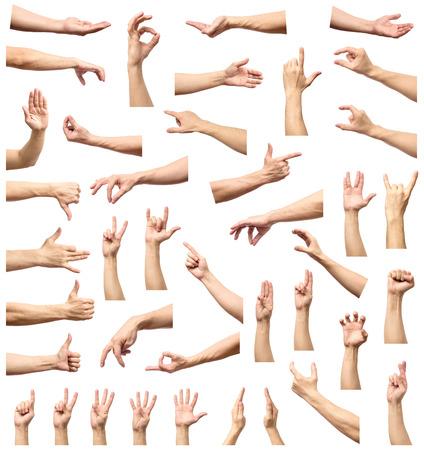 Múltiples gestos masculinos de la mano caucásica aislado sobre el fondo blanco, conjunto de imágenes múltiples Foto de archivo - 76444085