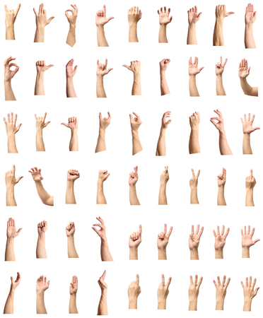 indicate: Male hand gesture and sign collection isolated over white background, set of multiple pictures