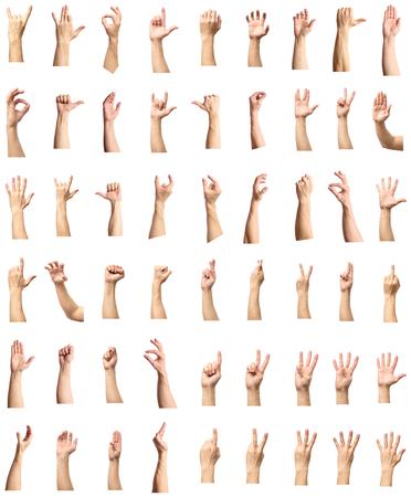 Mannelijke hand gebaar en teken collectie geïsoleerd op witte achtergrond, set van meerdere foto's