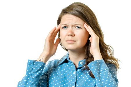 headaches: Woman having headache isolated on white background