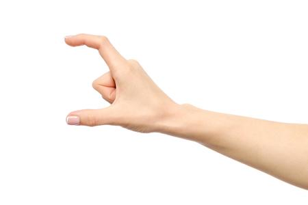 Hand zeigt Größe Geste isoliert auf weiß