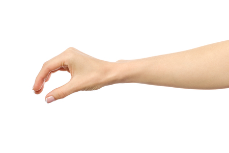 Womans hand grabbing or measuring something isolated on white Stock Photo