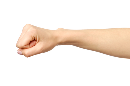 Fist caucasian womans hand gesture isolated over white