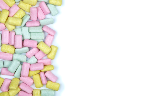 Brightly colored chewing gum laying flat isolated on white background Stock Photo
