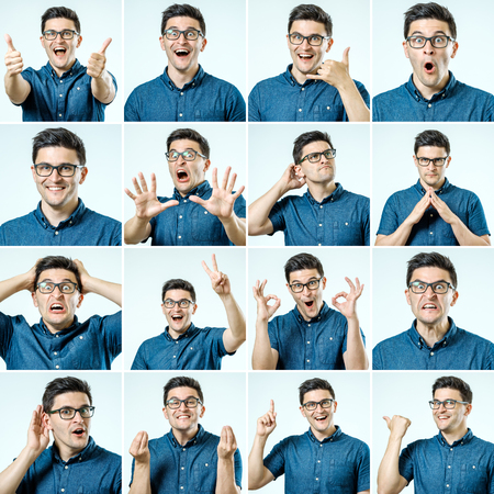 Set of young man's portraits with different emotions and gestures isolated