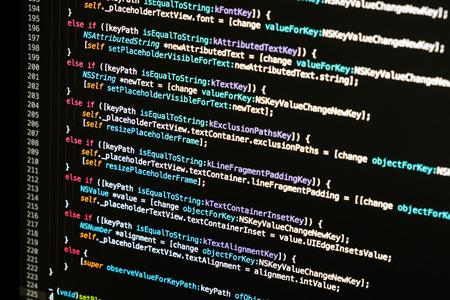 Software developer programming code. Abstract computer script