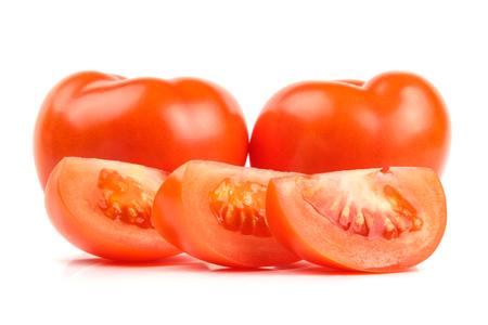 Tasty tomatoes isolated on white background