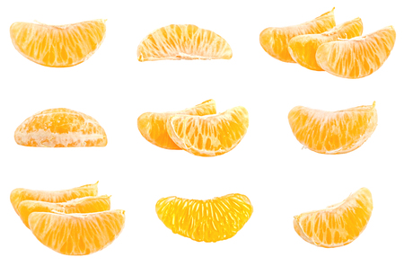 Collection of fresh mandarins isolated on white background. Set of multiple images. Part of series Foto de archivo