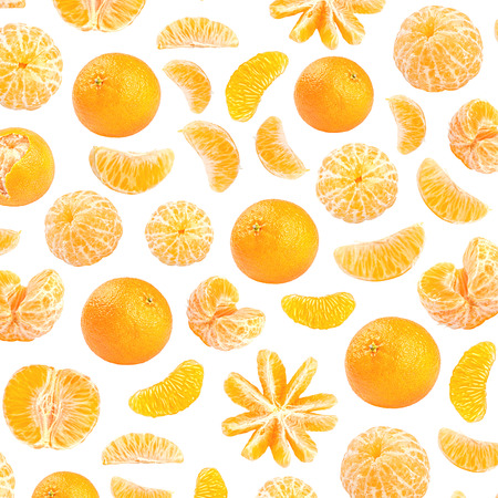 Fresh orange mandarin photographic pattern. Mandarin wallpaper. Isolated on white background