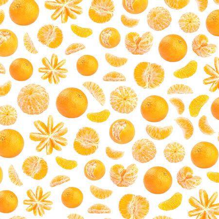 Fresh orange mandarin photographic pattern. Mandarin wallpaper. Isolated on white background