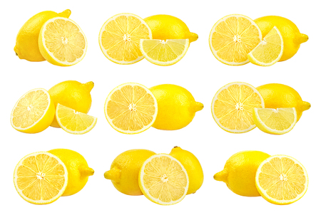 Collection of fresh yellow lemons isolated on white background. Set of multiple images. Part of series