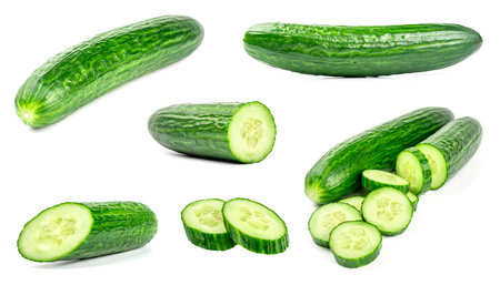 Collection of fresh green cucumbers isolated on white background. Set of multiple images. Part of series 版權商用圖片