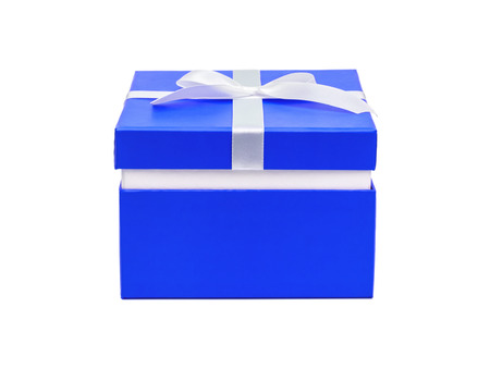 Blue box with a gift and white bow isolated on white background