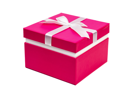 Red gift box with ribbon isolated on white background. Clipping path Stock Photo