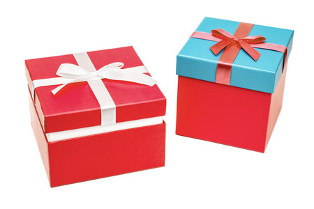 Two gift boxes with ribbon bow. Holiday present. Isolated on white background