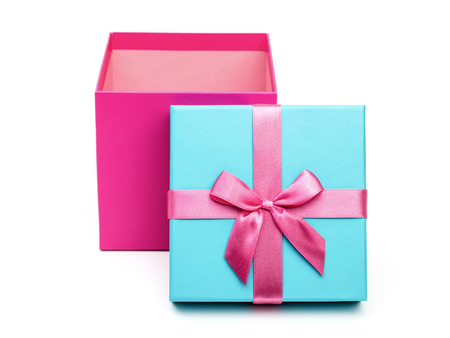 Open pink box with a gift and bow isolated on white background Stock Photo
