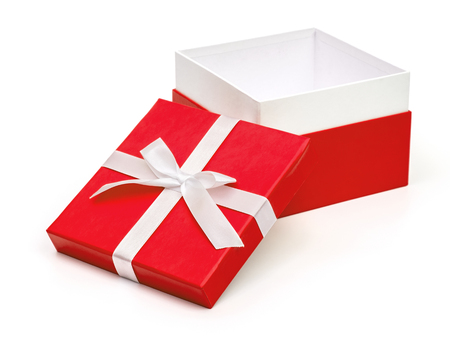 Open red box with a gift and white bow isolated on white background
