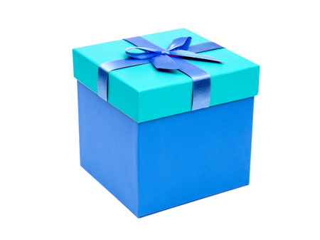 Blue gift box with ribbon bow. Holiday present. Isolated on white background Stock Photo