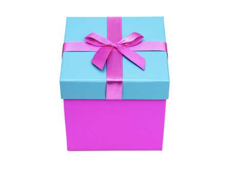 Purple gift box with ribbon isolated on white background. Clipping path Stock Photo