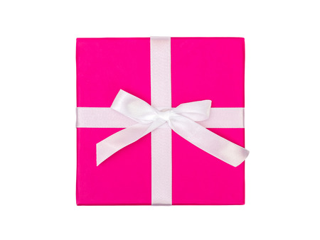 Top view of pink gift box with ribbon isolated on white background. Clipping path Stock Photo