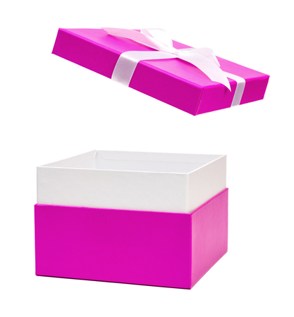 Open purple gift box with ribbon bow. Holiday present. Isolated on white background. Clipping path