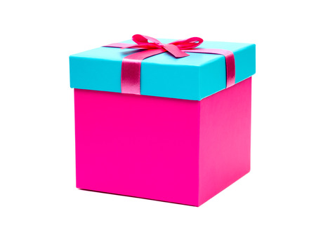 Pink box with a gift and bow isolated on white background