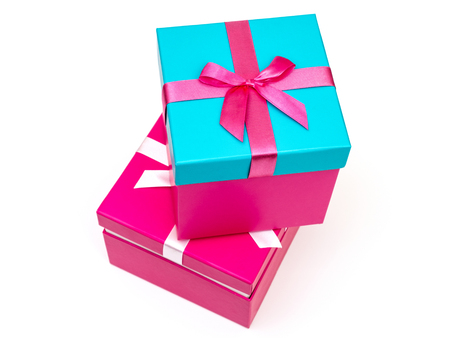 Two gift boxes isolated on white background. Clipping path