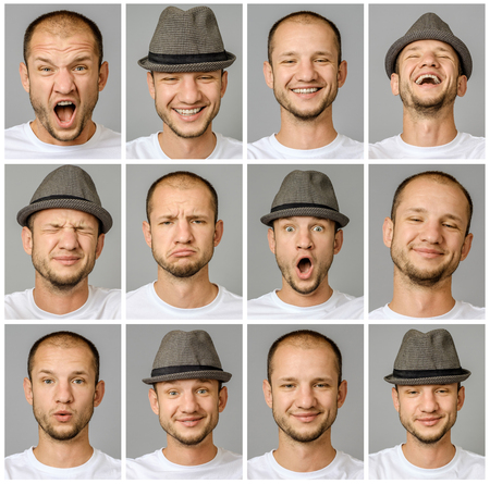 Set of young man's portraits with different emotions and gestures with magnifier and hat isolated over gray background Imagens
