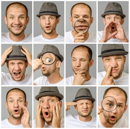 Set of young man's portraits with different emotions and gestures with magnifier and hat isolated over gray background Foto de archivo - 117430067