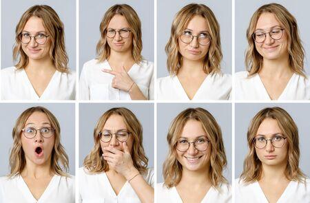 異なる表情と灰色の背景に隔離されたジェスチャーを持つ美しい女性のコラージュ。複数の画像のセット 写真素材