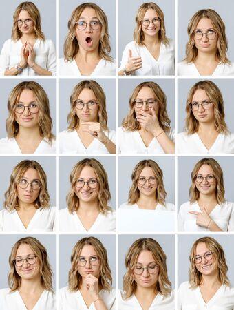 異なる表情と灰色の背景に隔離されたジェスチャーを持つ美しい女性のコラージュ。複数の画像のセット