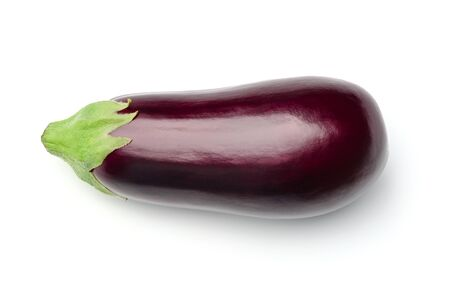 Eggplant isolated on white background. Above view