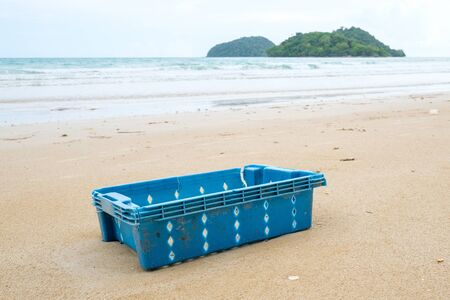 Beach in Thailand ruined by heavy plastic pollution. Ecological problem concept