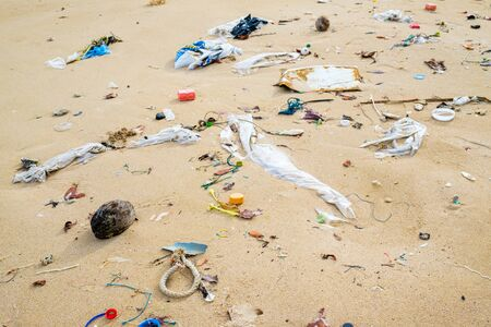 Pollutions and garbages on the beach