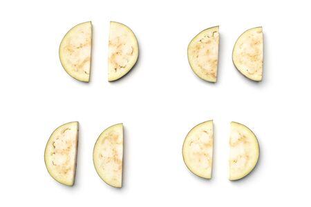 Sliced aubergine or eggplant. Flat lay. Top view 版權商用圖片