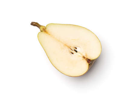Fresh pears cut in half isolated on white background. Directly above